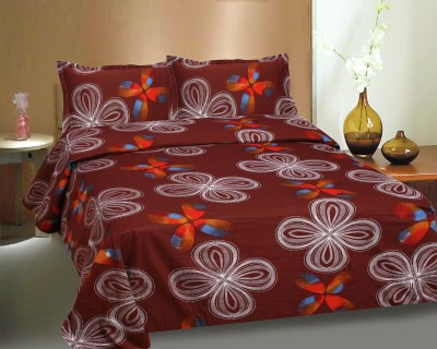 Ctm Textile Mills Satin Abstract Queen sized Double Bedsheet