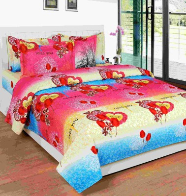 SKYTEX Cotton Text Print King sized Double Bedsheet