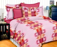 Story@Home Cotton Abstract Double Bedsheet(1 Double Bedsheet With 2 Pillow Covers, Pink)