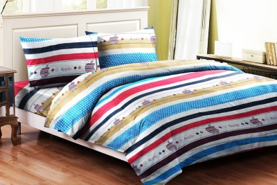 Brand Decor Polycotton Striped Double Bedsheet