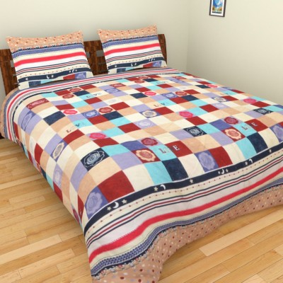 AXCELLENCE Polycotton Checkered King sized Double Bedsheet