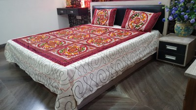 Craft Infinis Cotton Embroidered Double Bedsheet