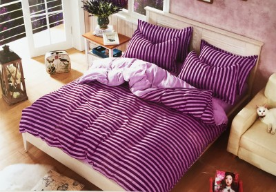 Mk Retail Polycotton Striped Queen sized Double Bedsheet