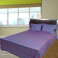 Shoppeholics Cotton Silk Blend Geometric Double Bedsheet(1 Bed Sheet, 2 Pillow Covers, Multicolor)