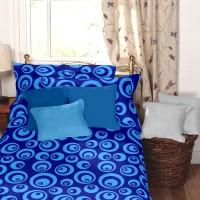 Dreamscape Cotton Geometric Single Bedsheet(1 Bedsheet, 1 Pillow Cover, Blue)