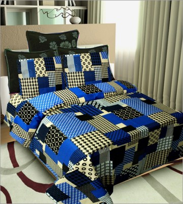 SHOPGRAB Cotton Checkered Double Bedsheet