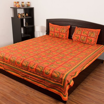 RajasthaniKart Cotton Embroidered Double Bedsheet