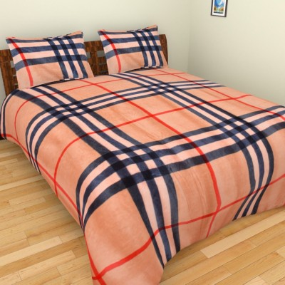 Abhomedecor Polyester Checkered Double Bedsheet