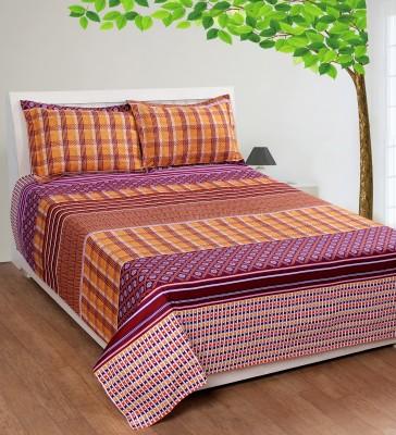 Shivalik Polycotton Striped King sized Double Bedsheet