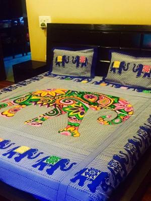 V Brown Cotton Floral Double Bedsheet
