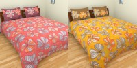 Birla Century Cotton Floral Double Bedsheet(2 Double Bedsheet, 4 Pillow Covers, Red and Yellow)