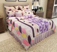 Home Candy Cotton Floral Double Bedsheet(1 Double Bedsheet, 2 Pillow Covers, Purple)