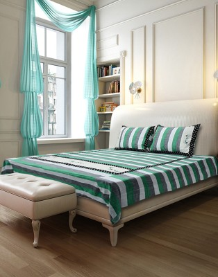 Gunjan Creations Cotton Striped King sized Double Bedsheet