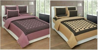 MR MACHROLI Cotton Abstract Double Bedsheet