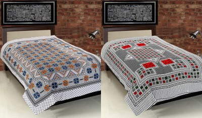 Surhome Cotton Abstract Single Bedsheet