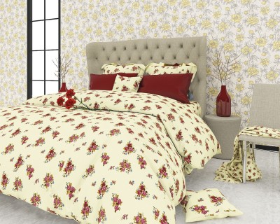 The White Moss Cotton Floral King sized Double Bedsheet