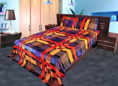 Gopani Dispatchers Polyester Silk Blend Checkered Double Bedsheet