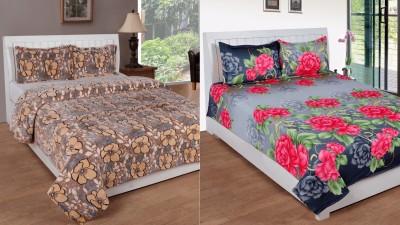 BSB Trendz Polyester Silk Blend Printed Double Bedsheet