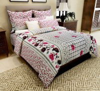 Home Candy Cotton Floral Double Bedsheet(1 Bedsheet, 2 Pillow Covers, Multicolor)