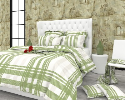 The White Moss Cotton, Satin Checkered King sized Double Bedsheet