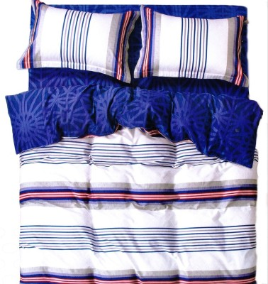 Just Linen Cotton Striped King sized Double Bedsheet