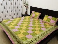 Ethnic Rajasthan Cotton Geometric Double Bedsheet(1 Bedsheet 2 Pillow Covers, Light Green)