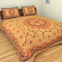 Aone Collection Cotton Printed Double Bedsheet(1 Double Bedsheet, 2 Pillow Cover, Multicolor)