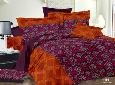 Richa Creation Satin Abstract Queen sized Double Bedsheet