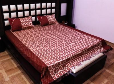 Milan Polycotton, Jacquard, Silk Geometric King sized Double Bedsheet