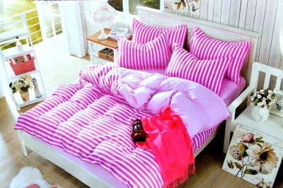 Hashcart Cotton Striped King sized Double Bedsheet