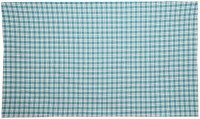 CPM Handloom Cotton Checkered Single Bedsheet(1 Bed Sheet, Blue)