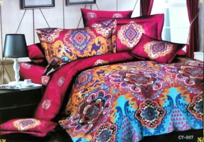 Night Gold Cotton Silk Blend Abstract Double Bedsheet