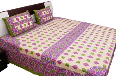 RV COLLECTION Cotton Abstract Double Bedsheet