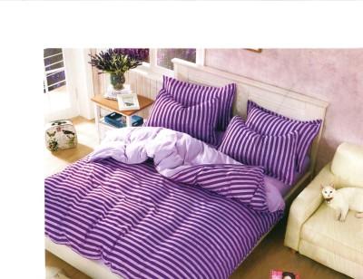 JDS Bedsheet Cotton, Cotton Linen Blend Striped Double Bedsheet