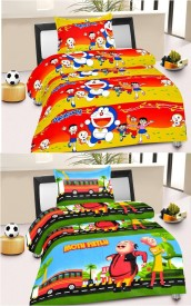 Fresh from Loom Cotton Cartoon Single Bedsheet(2 Single Bedsheets With 2 Pillow Cover, Yellow, Green)