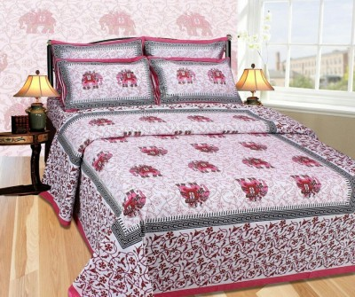 ShopSince Cotton Self Design King sized Double Bedsheet