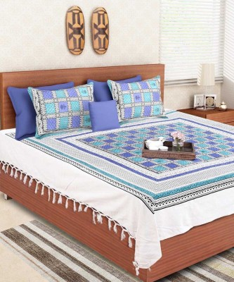 VarEesha Cotton Geometric Double Bedsheet