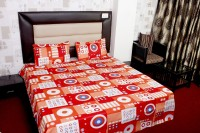 JDS Bedsheet Cotton Geometric Double Bedsheet(1 Bed Sheet, 2 Pillow Covers, Red, White)