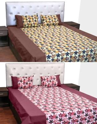 Idrape Cotton Floral Double Bedsheet