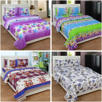 IndianOnlineMall Cotton 3D Printed Double Bedsheet