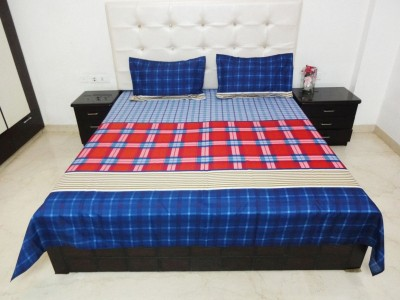 K Gallery Polycotton Checkered Double Bedsheet