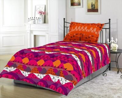 Blush Cotton Abstract Single Bedsheet