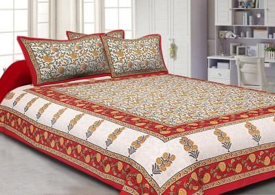 Jaipuri Haat Cotton Floral King sized Double Bedsheet