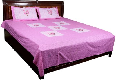 Nitin traders Cotton Embroidered Double Bedsheet