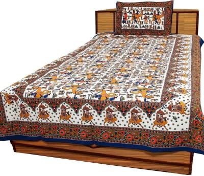 Polkakart Cotton Printed Single Bedsheet