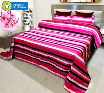 Signature Polycotton Striped King sized Double Bedsheet