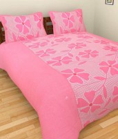 Lookandlike Cotton Floral Double Bedsheet(1 Bed Sheet, 2 Pillow Covers, Pink)