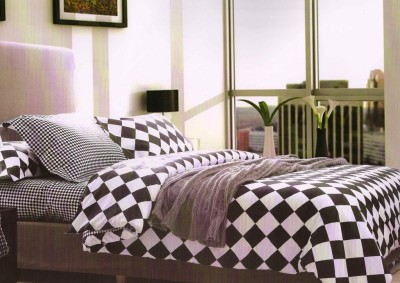 Zigma Collections Cotton Linen Blend Abstract Queen sized Double Bedsheet