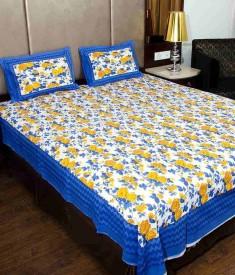 Uniqchoice Cotton Printed Double Bedsheet(1 Bed Sheet, 2 Pillow Cover, Multicolor)