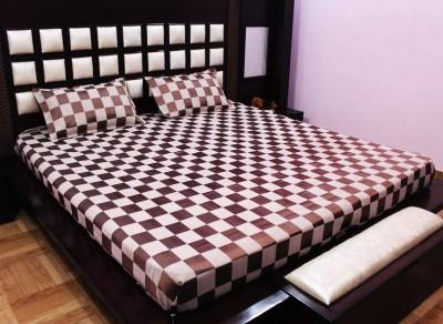 Milan Polycotton, Jacquard, Silk Checkered King sized Double Bedsheet